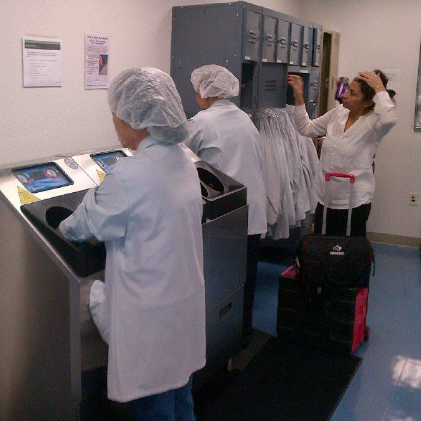 CleanTech Automatic Hand Washing Stations in Use at a CleanRoom