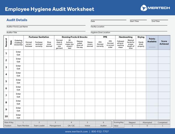 Secret Shopper Hygiene Audit Worksheet
